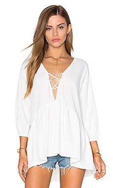 Lucca Couture 3/4 Sleeve Linen Gauze Top in White