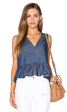 V Neck Peplum Tank in Navy Denim