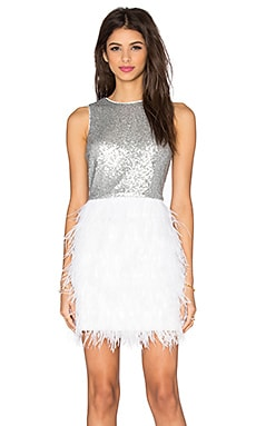 Masquerade Shift Dress en Argent & Blanc