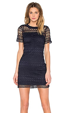 Lucy Paris Embroidered Overlay Dress in Navy
