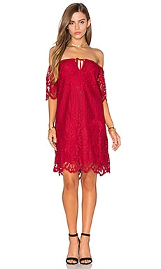 Lucy Paris Lace Dress in Red