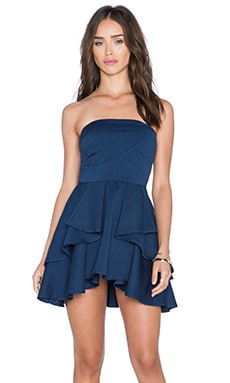 Lucy Paris Layered in Ruffles Strapless Dress in Navy