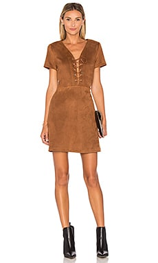 Jaida Faux Suede Lace Up Dress in Brown