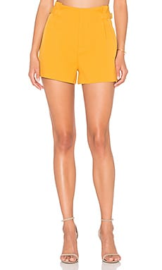 Lucy Paris Diane Pleated Shorts in Mustard