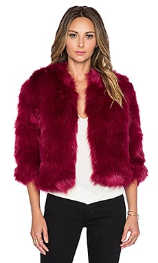 Lucy Paris Bordeaux Faux Fur Jacket in Wine