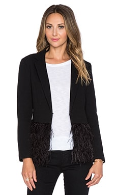 Lucy Paris Ruffle Feather Jacket in Black
