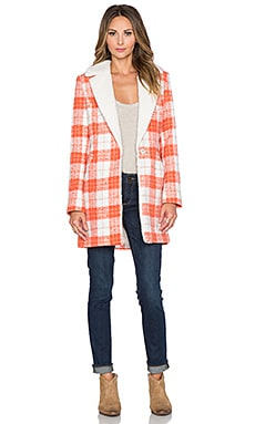 Lucy Paris State of Grace Plaid Coat in Burnt Orange