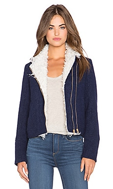 Lucy Paris Fall For You Moto Jacket in Navy