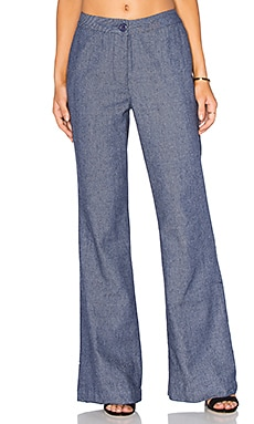 Lucy Paris Flared Pants in Dark Chambray