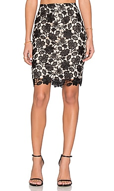 Lucy Paris Floral Lace Skirt in Black & Cream