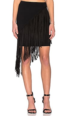 Lucy Paris Asymmetrical Fringe Skirt in Black