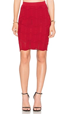 Lucy Paris Seashell Scallop Skirt in Red