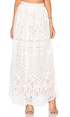 Lucy Paris Lace Maxi Skirt in White