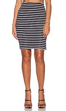 Lucy Paris Catie Pencil Skirt in Navy & White