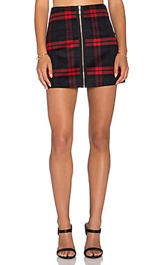 Lucy Paris Over Ruled Plaid Mini Skirt in Black & Red