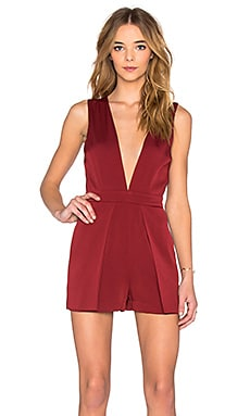 Deep V Romper in Burgundy