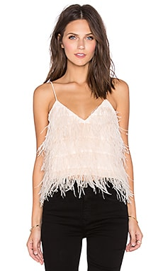 Lucy Paris Tiny Dancer Feather Cami in Blush