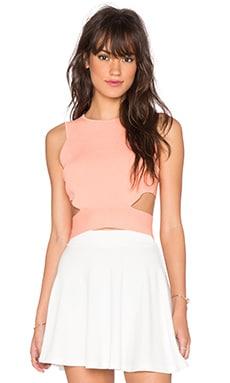 Lucy Paris Rib Cutout Crop Top in Coral