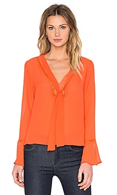 Lucy Paris Joplin Tie Neck Top in Red
