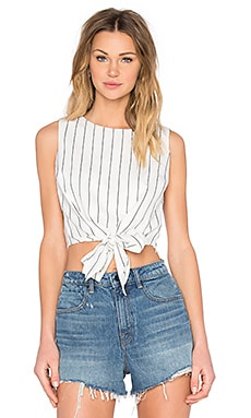 Lucy Paris Tie Front Crop Top in Skinny Stripe