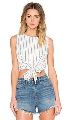 Lucy Paris Tie Front Crop Top in Skinny Stripe