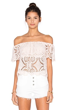 Lucy Paris Diamond Lace Top in Pink