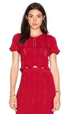 Lucy Paris Seashell Scallop Top in Red