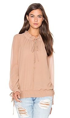 Lucy Paris Tie Up Blouson Top in Camel