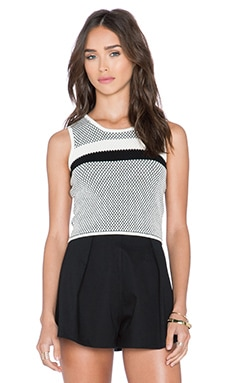 Lucy Paris Polka Dot Crop Top in Black & White