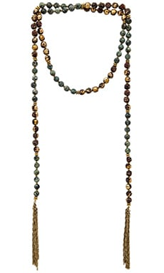 Lucky Star Gypset Tassel Wrap Necklace in African Turquoise