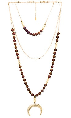 Lucky Star Moonshadow Necklace in Gold & Sangria