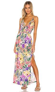 Shocking Florals Spaghetti Strap Ruffle Long Dress Luli Fama $196 BEST SELLER