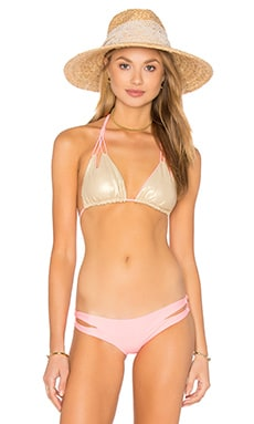 Cosita Buena Reversible Zig Zag Knotted Cut Out Triangle Top in Pink Sunsets