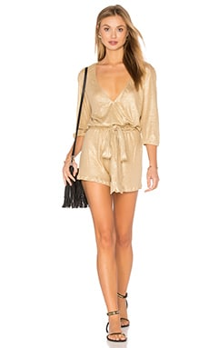 Luli Fama Spirit of A Fairy Wrap Front Romper in Gold