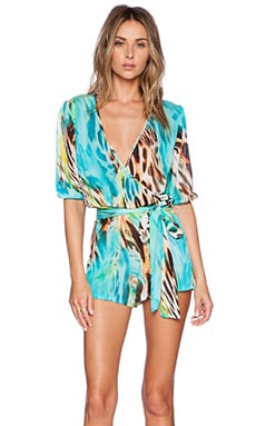 Luli Fama Caribe Mon Amour Wrap Romper in Multicolor