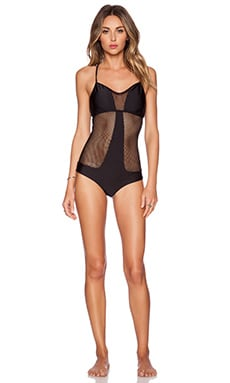 Luli Fama For Your Eyes Only Net Swimsuit in Black