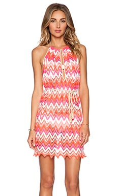 Luli Fama Flamingo Beach Mini Dress in Multicolor