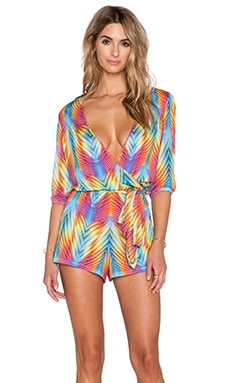 Luli Fama Playa Verano Wrap Front Romper in Multicolor