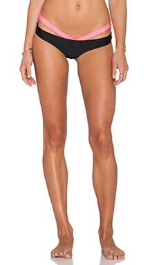 Luli Fama Beach Babe Sandy Buns Brazilian Bikini Bottom in Black
