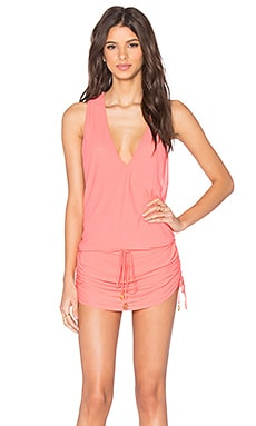 Luli Fama Cosita Buena T-Back Mini Dress in Fire Coral