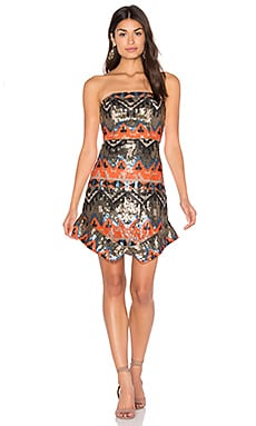 Track Start Strapless Dress in Warm Tone Sequin