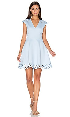 Laser Sharp Fit & Flare Dress in Sky