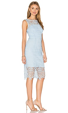 Lady Like High Neck Dress in Sky & Sky Lining