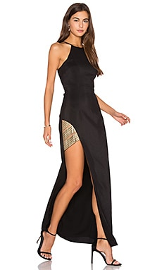 Between The Lines Halter Maxi Dress in Black & Gold