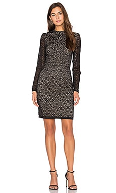 Mixed Emotions Long Sleeve Dress in Black & Nude