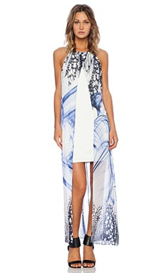 Smoke and Mirrors Open Front Maxi Dress in Blue Print & White