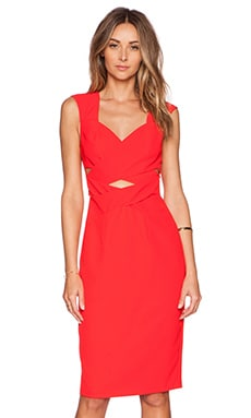 Flamboyant Flame Wrap Dress en Rouge