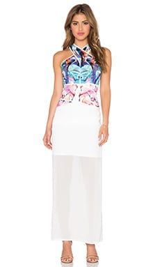 Lumier Birds of Paradise Maxi Dress in Pink & White