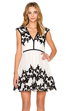 Lumier Riviera Chic Rope Mesh Fit & Flare Dress in White & Black
