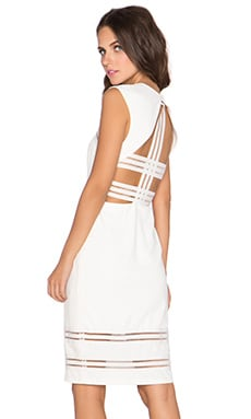 Lumier Strap Yourself In Open Back Midi Dress in Ivory